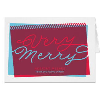 Light Blue and Red Very Merry folded holiday Greeting Card