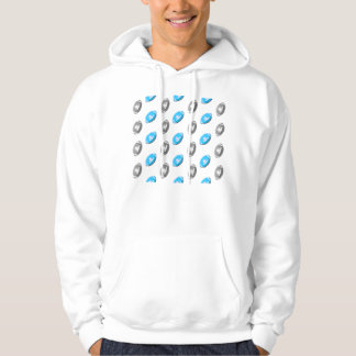 Light Blue and Silver Gray Football Pattern Hoodie