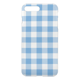 Light Blue and Transparent Gingham Pattern iPhone 7 Plus Case