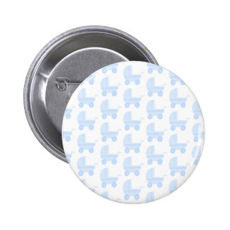 Light Blue and White Baby Stroller Pattern. 6 Cm Round Badge