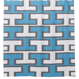 Light Blue and White Bricks Shower Curtain