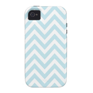 Light Blue and White Chevron Stripe Pattern Case-Mate iPhone 4 Cover