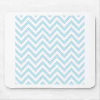 Light Blue and White Chevron Stripe Pattern Mouse Pad