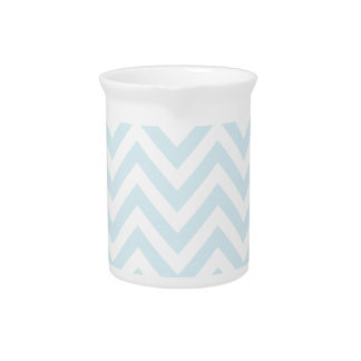 Light Blue and White Chevron Stripe Pattern Drink Pitchers