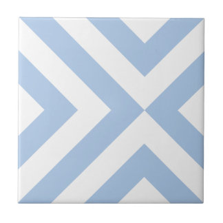 Light Blue and White Chevrons Ceramic Tile