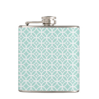 Light Blue and White Circle and Star Pattern Flask