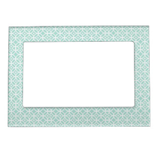 Light Blue and White Circle and Star Pattern Frame Magnet
