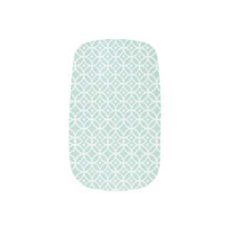 Light Blue and White Circle and Star Pattern Nail Sticker