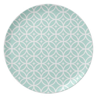 Light Blue and White Circle and Star Pattern Plate