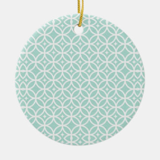 Light Blue and White Circle and Star Pattern Round Ceramic Decoration
