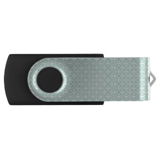Light Blue and White Circle and Star Pattern Swivel USB 2.0 Flash Drive