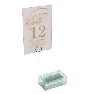 Light Blue and White Circle and Star Pattern Table Card Holders