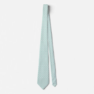 Light Blue and White Circle and Star Pattern Tie