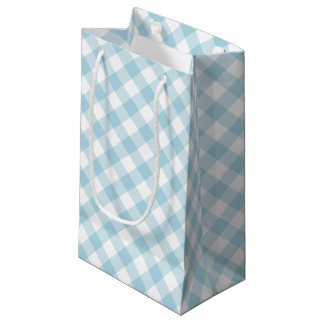 Light Blue and White Diagonal Gingham Small Gift Bag