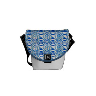 Light Blue and White Geometric Pattern Commuter Bags