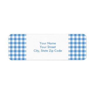 Light Blue and White Gingham Pattern address label