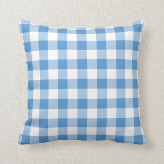 Light Blue and White Gingham Pattern Cushion
