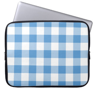 Light Blue and White Gingham Pattern Laptop Sleeve