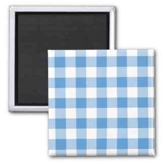 Light Blue and White Gingham Pattern Square Magnet