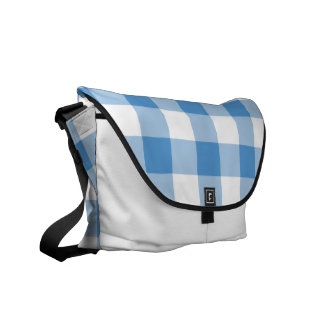 Light Blue and White Gingham Pattern Commuter Bags