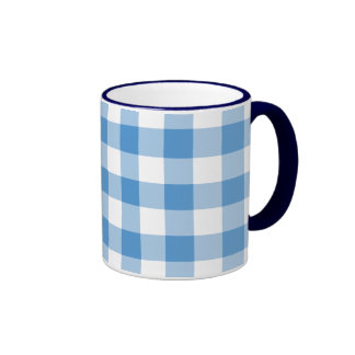 Light Blue and White Gingham Pattern Coffee Mug