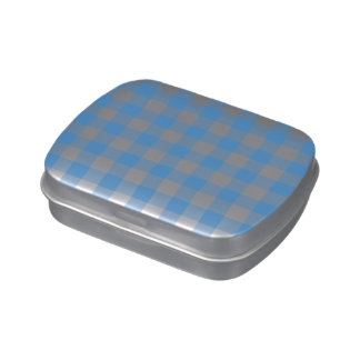 Light Blue and White Gingham Pattern Jelly Belly Tin