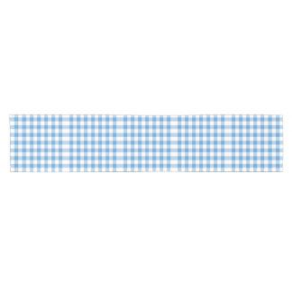 Light Blue and White Gingham Pattern Table Runner