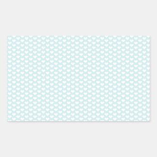Light Blue and White Hearts Rectangular Sticker