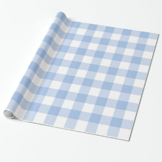 Light Blue and White Plaid Gingham Wrapping Paper