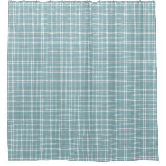 Light Blue and White Plaid Shower Curtain