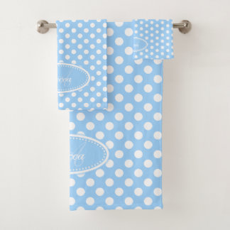 Light blue and white polka dot personalized towels
