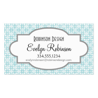 Light Blue and White Squares Plaid Pattern Business Cards
