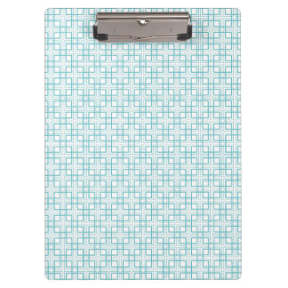 Light Blue and White Squares Plaid Pattern Clipboard