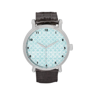 Light Blue and White Squares Plaid Pattern Wristwatch