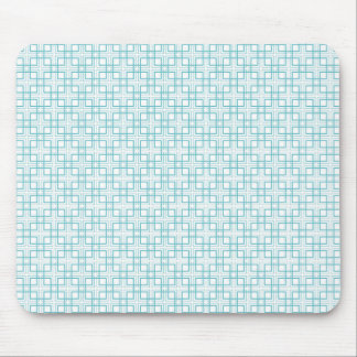 Light Blue and White Squares Plaid Pattern Mouse Pad