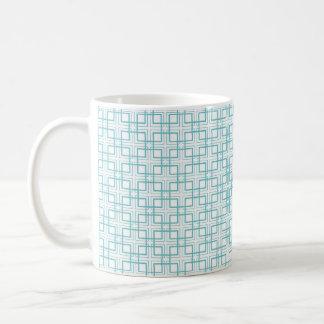 Light Blue and White Squares Plaid Pattern Mug