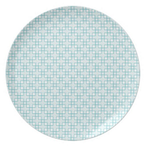 Light Blue and White Squares Plaid Pattern Dinner Plates