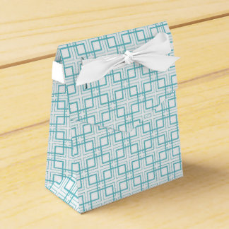 Light Blue and White Squares Plaid Pattern Wedding Favour Boxes