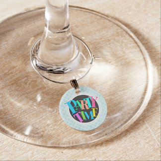 Light Blue and White Squares Plaid Pattern Wine Glass Charms