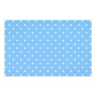 Light Blue and White. Star Pattern. 14 Cm X 21.5 Cm Flyer