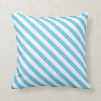 Light Blue and White Stripes on a Pillow Throw Cushions