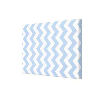 Light Blue and White Zigzag Gallery Wrapped Canvas
