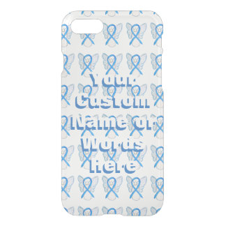 Light Blue Angel Awareness Ribbon iPhone Cases