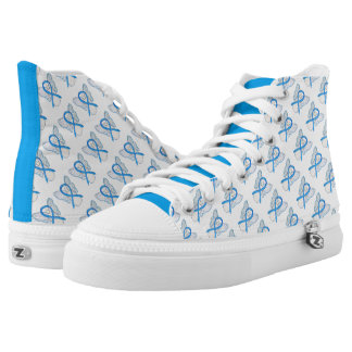 Light Blue Awareness Ribbon Angel Custom High Tops Printed Shoes
