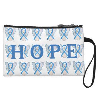 Light Blue Awareness Ribbon Art Hope Clutch Purse