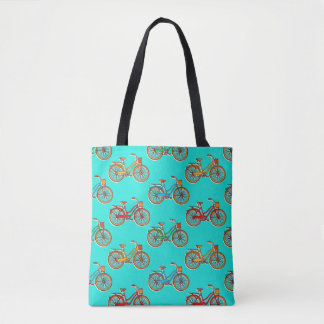Light Blue Bicycle All Over Print Tote Bag