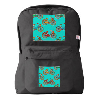 Light Blue Bicycle Black American Backpack