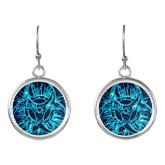 Light blue biohazard toxic warning sign symbol earrings