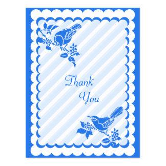 Light Blue Birds With Diagonal Stripes Thank You Postcard
