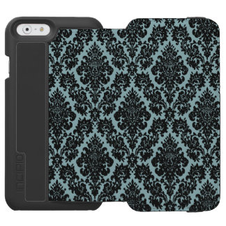 Light Blue/Black Damask iPhone 6 Wallet Case Incipio Watson™ iPhone 6 Wallet Case